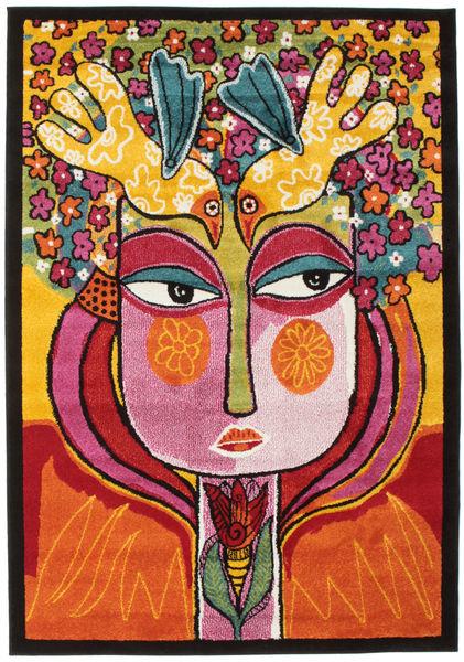 She Has Flowers In Her Hair Tapis 140X200 Moderne Marron Foncé/Orange ( Turquie)