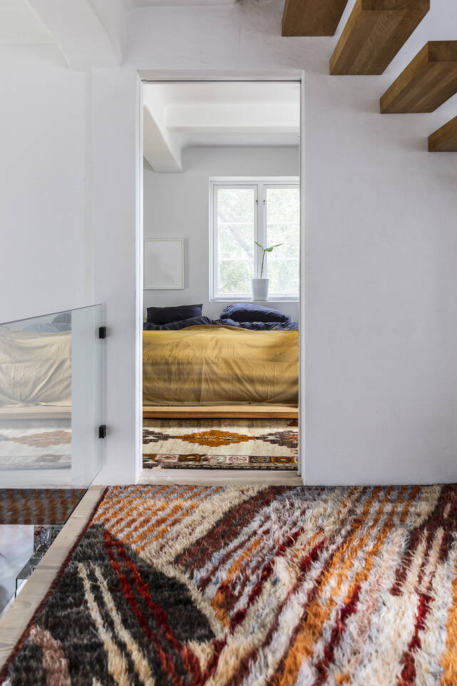 Tapis moroccan berber - afghanistan longue, brun / jaune dans un chambre