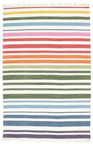 Rainbow Stripe - Blanc Tapis 140X200 Moderne Tissé À La Main Blanc/Crème/Beige (Coton, Inde)
