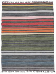 Rainbow Stripe - Gris Tapis 250X300 Moderne Tissé À La Main Gris Foncé/Vert Olive Grand (Coton, Inde)