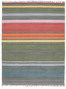 Rainbow Stripe - Gris Tapis 200X250 Moderne Tissé À La Main Gris Clair/Vert Olive (Coton, Inde)