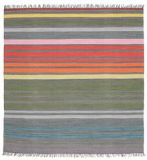 Rainbow Stripe - Gris Tapis 200X200 Moderne Tissé À La Main Carré Gris Foncé/Gris Clair (Coton, Inde)
