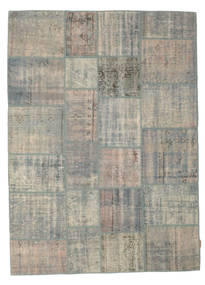 Patchwork Tapis 174X240 Moderne Fait Main Gris Clair (Laine, Turquie)