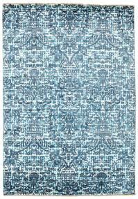 Damask Tapis 170X244 Moderne Fait Main Bleu Clair/Bleu ( Inde)