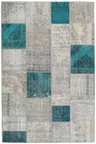 Patchwork Tapis 200X301 Moderne Fait Main Gris Clair/Bleu Turquoise (Laine, Turquie)