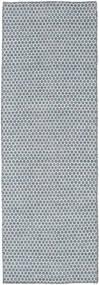 Kilim Honey Comb - Bleu Tapis 80X240 Moderne Tissé À La Main Tapis Couloir Bleu Clair/Gris Clair (Laine, Inde)