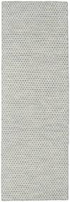 Kilim Honey Comb - Gris Tapis 80X240 Moderne Tissé À La Main Tapis Couloir Gris Clair/Beige (Laine, Inde)