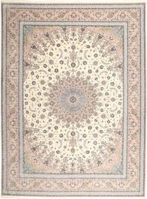 Ispahan Chaîne De Soie Tapis 315X420 D'orient Fait Main Gris Clair/Beige Grand (Laine/Soie, Perse/Iran)