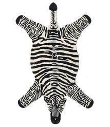 Zebra Tapis 100X155 Moderne Noir/Beige (Laine, Inde)