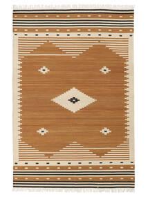 Tribal - Jaune Moutarde Tapis 140X200 Moderne Tissé À La Main Marron/Marron Clair (Laine, Inde)