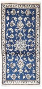 Naïn Tapis 70X135 D'orient Fait Main Gris Clair/Bleu Foncé (Laine, Perse/Iran)
