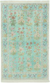 Ghom Soie Tapis 102X160 D'orient Fait Main Vert Pastel/Gris Clair (Soie, Perse/Iran)