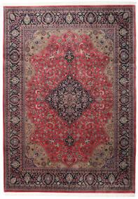 Kashan Indo Tapis 246X346 D'orient Fait Main Marron Foncé/Rouge Foncé (Laine, Inde)