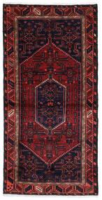 Hamadan Tapis 100X201 D'orient Fait Main Violet Foncé/Rouge Foncé (Laine, Perse/Iran)