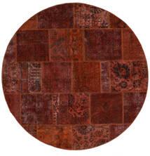 Patchwork - Persien/Iran Tapis Ø 200 Moderne Fait Main Rond Marron Foncé/Rouge Foncé (Laine, Perse/Iran)
