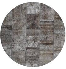 Patchwork - Persien/Iran Tapis Ø 200 Moderne Fait Main Rond Gris Foncé/Gris Clair (Laine, Perse/Iran)