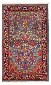 Kerman Tapis 90X152 D'orient Fait Main Rouge Foncé/Bleu (Laine, Perse/Iran)