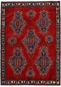 Afshar/Sirjan Tapis 168X235 D'orient Fait Main Rouge Foncé/Violet Foncé (Laine, Perse/Iran)