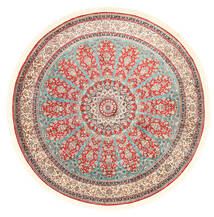 Cachemire Pure Soie Tapis Ø 184 D'orient Fait Main Rond Beige/Gris Clair (Soie, Inde)