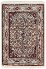 Moud Tapis 62X90 D'orient Fait Main Gris Clair/Marron Foncé (Laine/Soie, Perse/Iran)