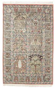 Cachemire Pure Soie Tapis 77X127 D'orient Fait Main Marron Foncé/Beige (Soie, Inde)