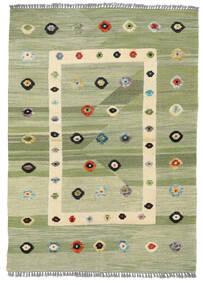 Kilim Moderne Tapis 107X151 Moderne Tissé À La Main Vert Clair/Blanc/Crème (Laine, Afghanistan)