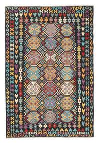 Kilim Afghan Old Style Tapis 202X301 D'orient Tissé À La Main Noir/Gris Clair (Laine, Afghanistan)
