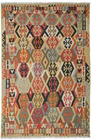 Kilim Afghan Old Style Tapis 205X311 D'orient Tissé À La Main Rouge Foncé/Beige Foncé (Laine, Afghanistan)