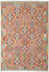 Kilim Afghan Old Style Tapis 206X300 D'orient Tissé À La Main Rouge Foncé/Gris Clair (Laine, Afghanistan)