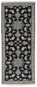 Naïn Tapis 80X194 D'orient Fait Main Tapis Couloir Noir/Gris Foncé (Laine, Perse/Iran)