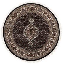 Tabriz Royal Tapis Ø 120 D'orient Fait Main Rond Noir/Blanc/Crème ( Inde)