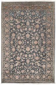 Kashan Indo Laine/Viscos Tapis 197X295 D'orient Fait Main Noir/Marron Foncé (Laine/Soie, Inde)