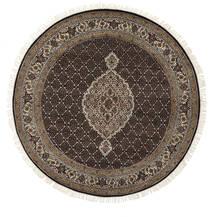 Tabriz Royal Tapis Ø 198 D'orient Fait Main Rond Blanc/Crème/Noir ( Inde)