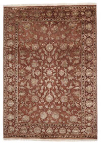 Kashan Indo Laine/Viscos Tapis 168X236 D'orient Fait Main Marron Foncé/Marron (Laine/Soie, Inde)