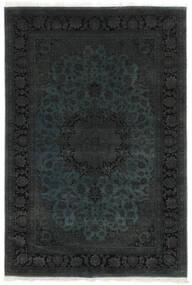 Kashan Indo Laine/Viscos Tapis 173X257 D'orient Fait Main Noir (Laine/Soie, Inde)